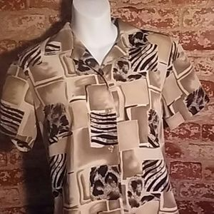 Shirt Top Zebra Leopard print short sleeve  tan